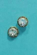 Clear/Gold One Single Small Round Stone Earring