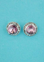 "Rose/Clear Small Round Stone/Shape 0.3"" Post Earring"