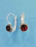"Siam Dark/Clear Small Round Stone/Shape 0.5"" Fish Earring"