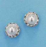 Pearl/Clear Single Round Shape Earring