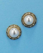 Pearl/Clear Gold Single Round Shape Earring
