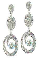 AB/Silver Multi-Pave Oval Dangle Earring