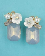 Opal Blue/Pearl Gold Bottom Emerald Stone Top Flower Post Earring