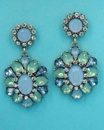 """Multiple Colors/Antique Gold Top Round Bottom Flower Shape 2"""" Post Earring"""