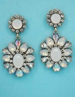 "Opal/Clear Antique Gold Top Round Bottom Flower Shape 2"" Post Earring"