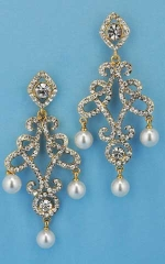 "Pearl/Clear Gold Framed Dancing Pearl 2"" Post Earring"