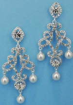 "Pearl/Clear Silver Framed Dancing Pearl 2"" Post Earring"