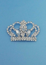 Clear/Silver Big Crown Shape Pin