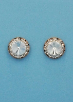 Clear/Rose Gold Single Round Stone Post Earring 1""