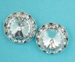 Clear/Silver Small Button Pierced Earring