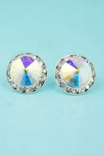 AB/Clear/Silver Small Button Pierced Earring