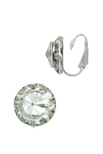 Clear Silver Small Botton Clip-On Earring