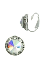 AB/Clear/Silver Small Button Clip-On Earring
