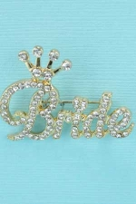 Clear/Gold Bride Crown Brooch