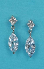 "Cubic Zirconia/Silver Marquise/Top Flower Shape 1"" Post Earring"