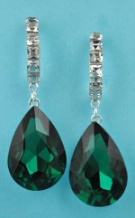 "Emerald/Clear Silver Dangle Medium Pear Stone 2"" Post Earring"