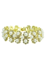 Cream Pearl/Clear/Gold Multi Row Cluster Bracelet