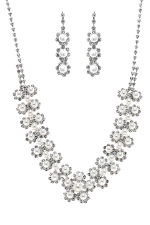 White Pearl/Silver Cluster Flower Set