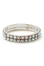 Double Row Of Large Rhinestones Stretch Bracelet