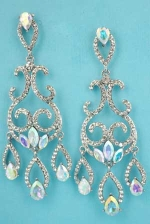 "Aurora Borealis/Clear Silver Framed Multiple Shape Marquise/Round Stone 3"" Post Earring"