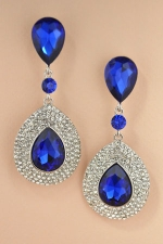Sapphire/Silver Tear Drop Dangle Four Row Inlay Post Earring