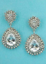 "Clear/Silver Framed Center Pear Dangling 1"" Post Earring"
