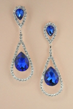 "Sapphire/ Silver Inverted Tear Drop in Hollow Hoop 2&3/4"" Dangle Post Earring"