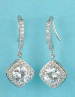 "Clear/Silver C Shape Top Square/Round Shape 1"" Post Earring"