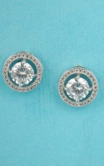"""Cubic Zirconia/Silver Round Stone/Shape 1"""" Post Earring"""