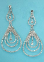 "Clear/Silver Multiple Small Round Stone 3"" Post Earring"