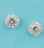 "Cubic Zirconia/Silver Square Shape Round Stone 0.5"" Post Earring"