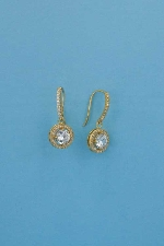 Cubic Zirconia/Gold 6.5mm Round Fish Hook