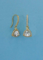 "Cubic Zirconia/Gold Triangle Shape 1.5"" Fish Earring"