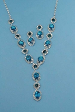Blue Zircon/Clear Silver Oval/Round Stones Set