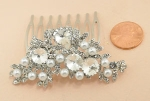 White Pearl/Silver Cluster Hair Comb
