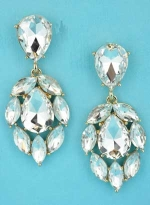 "Clear/Gold Pear/Marquise Dangling Stone 2"" Post Earring"