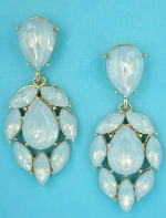 "Opal/Gold Pear/Marquise Dangling Stone 2"" Post Earring"