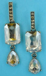 "Light Colorado/Gold Dangling Multiple Shape Stone 2"" Post Earring"
