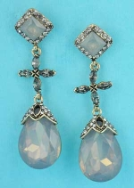 Opal/Multiple Colors Gold Square Top/Pear Bottom 2.5 Post Earring