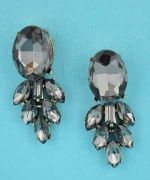 "Black Diamond/Gold Pineapple Shape 2"" Post Earring"