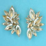 "Light Colorado/Clear Gold Marquise Stone 1.5"" Post Earring"