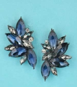 "Montana Navy/Clear Silver Marquise Stone 1.5"" Post Earring"