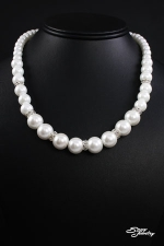 White Pearl/Silver Graduated Strand Necklace