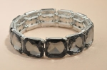 Black Silver Diamond Square Stone Stretch Bracelet