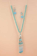 Aqua Silvert Chain Beaded With Tassed Necklace Set