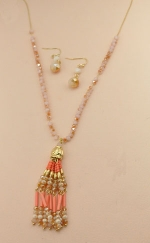 Peach gold Chain Beaded With Tassle Necklace