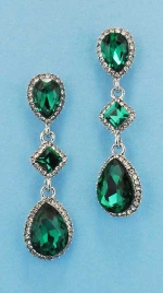 """Olivine/Clear Silver Three Stones 2"""" Earring"""
