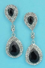 """Jet/Clear Silver Two Pear Stone Linked 1.5"""" Earring"""