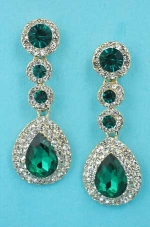 "Emerald/Clear Gold Linked Stone 2"" Post Earring"
