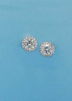 "Cubic Zirconia/Silver Single Round Stone 0.5"" Post Earring"